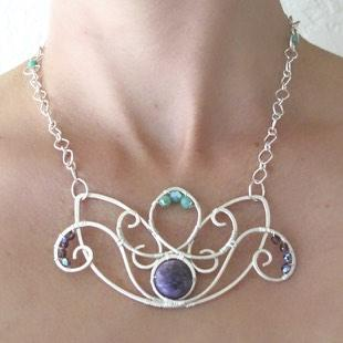 Sterling Silver Lotus with Charoite